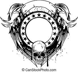 frame with skull
