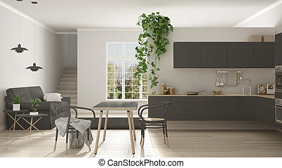 Scandinavian gray minimalist living with kitchen, open space, one room apartment, modern interior design