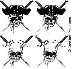Pirate skull cutlass set - Vector illustration pirate skull...