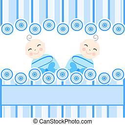 twins boys - vector illustration of the twins boys on blue...
