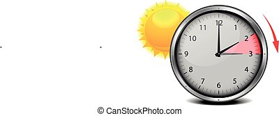 Daylight Saving Summer - switch to summer time, concept for...
