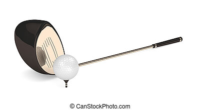 3d render of golf ball with golf club isolated on white