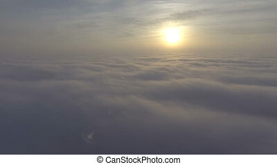 Fly through the clouds in the sky, Low light cloudscapes. -...