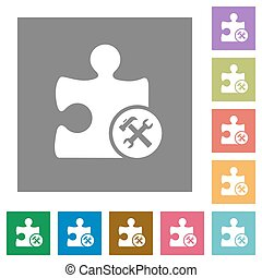 Plugin tools square flat icons - Plugin tools flat icons on...