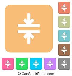 Horizontal merge tool rounded square flat icons - Horizontal...