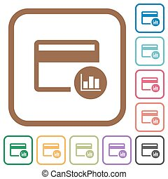 Credit card transaction reports simple icons
