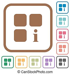 Component information simple icons in color rounded square...