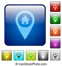 Home address GPS map location color square buttons - Home...