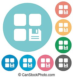 Save component flat round icons - Save component flat white...