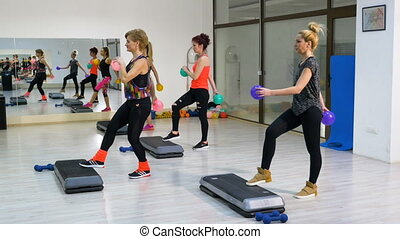 Group of women doing fitness at the gym