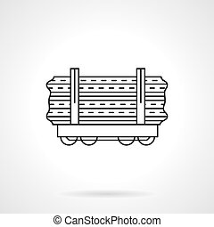 Wood rail freights flat line vector icon - Railroad...