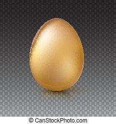 Golden Easter egg, vector illustration. - Golden egg,...
