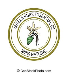 vanilla, essential oil label, aromatic plant Vector...