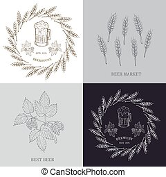 Beer and brewery emblems with barley, design elements.
