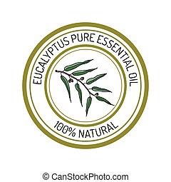 eucalyptus, essential oil label, aromatic plant