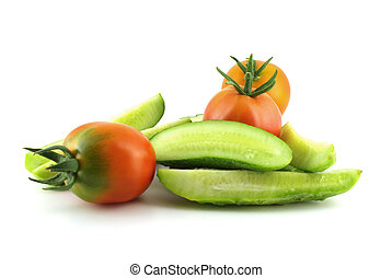 Tomatoes and cutted cucumber