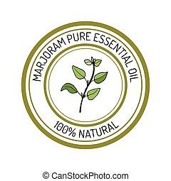 marjoram, essential oil label, aromatic plant Vector...