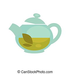 Glass teapot with brewed green tea leaf vector flat icon -...