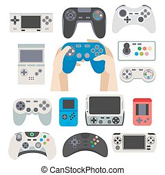 Gamer gamepad and gaming controller device vector isolated...