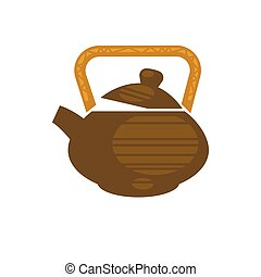 Chinese ceramic teapot for tea time vector flat icon -...