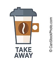 Coffee drink cup vector flat icon for takeaway cafe menu -...