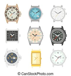Wrist watches mechanical clock faces vector icons set -...