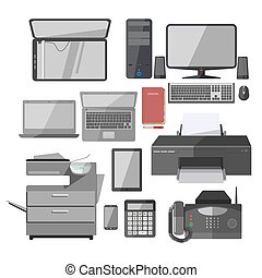 Office work equipment devices vector isolated icons set -...