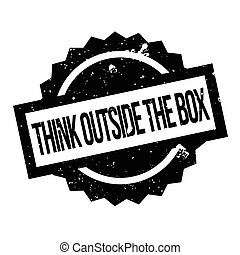 Think Outside The Box rubber stamp. Grunge design with dust...