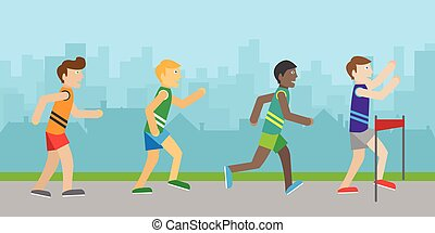 Runners on Finish Flat Style Vector Illustration - Runners...