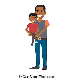 Happy Black Man Holding his Little Son to Hands - Cheerful...