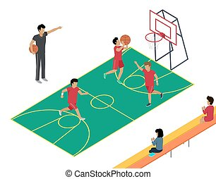 Basketball Training with Three Players and Coach.