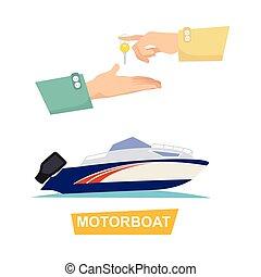 Buying Blue Speed Motorboat on White Background. - Buying...