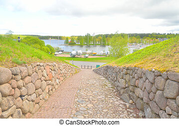 Landscape in park in the fortress of Lappeenranta, - Spring...