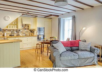 Empty Log Cabin - Interior shot of a log cabin living room...