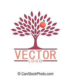people tree icon with peach fruit - eco concept vector.