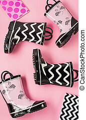 The Black and white rubber boots or gardening boots - The...