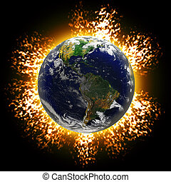 Exploding Earth - Illustration of an exploding planet earth...