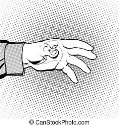 Man's hand holding out for something. Man calling for. Man inquiring for something. Man's hand. Reaching out something. Requiring something. Halftone background