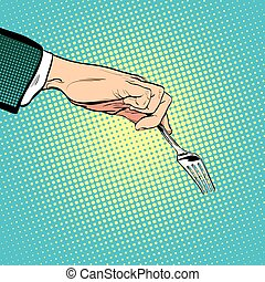 Man stretches out his hand to take something with a fork. Man asking. Man's hand. Reaching out something. Requiring something. Pop art illustration. Halftone background
