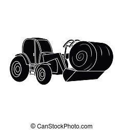 Orange tractor with a ladle transporting hay bale. Agricultural vehicles.Agricultural Machinery single icon in black style vector symbol stock illustration.