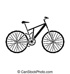 Mountain bike. Cycling downhill from the mountains.Different Bicycle single icon in black style vector symbol stock illustration.