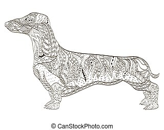 Dachshund coloring book for adults vector