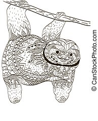 Sloth on a branch Coloring book vector for adults - Sloth on...