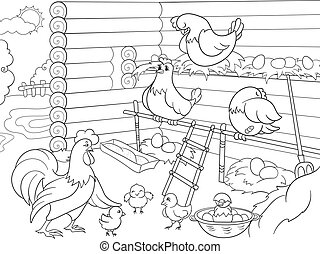 Interior and life of birds in the chicken coop coloring for...