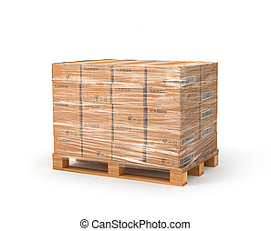 Cardboard boxes on wooden pallet. Delivery concept. 3D...