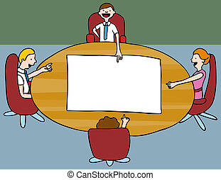 Board Meeting - An image of a meeting of employees.