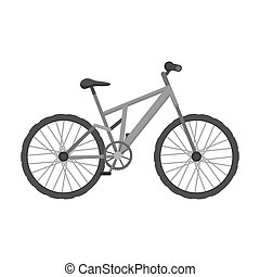Mountain bike. Cycling downhill from the mountains.Different Bicycle single icon in monochrome style vector symbol stock illustration.