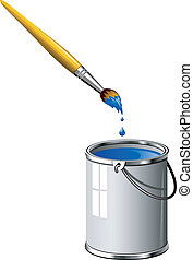Bucket of blue paint and a brush