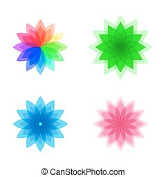 Colorful stylized flower set. Abstract background. Vector...