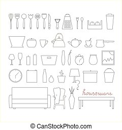 ?????? - Houseware vector elements. Homewares line icon set.